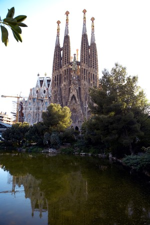 General view of La Sagrada Familia, Antonio Gaudi, Barcelona, Spain
