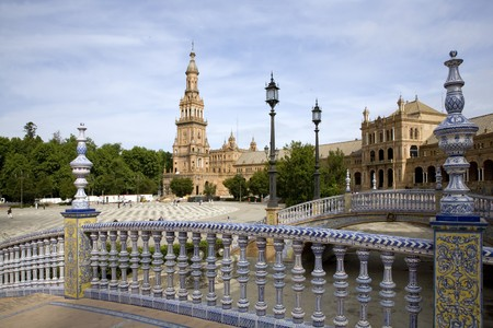 Courtyard of a palace, Plaza De Espana, Seville, Spain