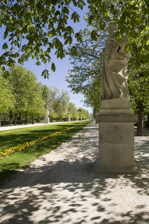Statue in a park, Parque Del Retiro, Retiro Park, Madrid, Spain