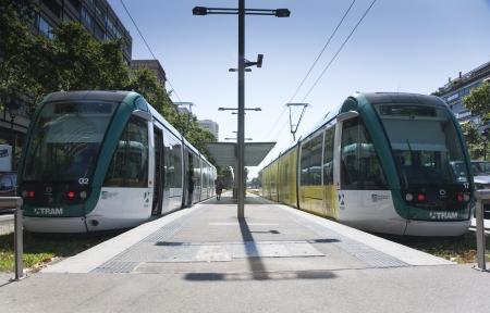 Tram at Francesc Macia, Barcelona, Spain