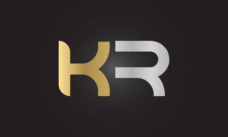 Initial ALphabet KR Logo Design vector Template. Abstract Letter KR Linked Logo