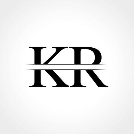 Initial KR letter Logo Design vector Illustration. Abstract Letter KR logo Design