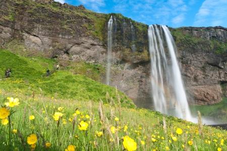famous huge Seljalandsfoss waterfall of Iceland europe