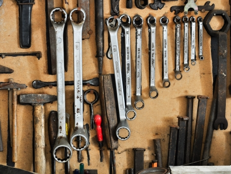 different tools organized on a wall