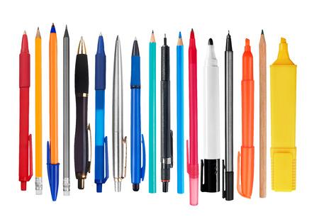 Photo pour Pens and pencils on white background - image libre de droit