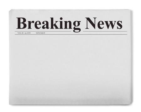 Photo pour Breaking news title on newspaper - image libre de droit