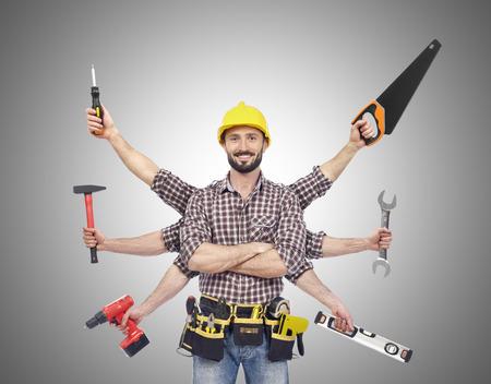 Photo pour Handyman with tools - image libre de droit