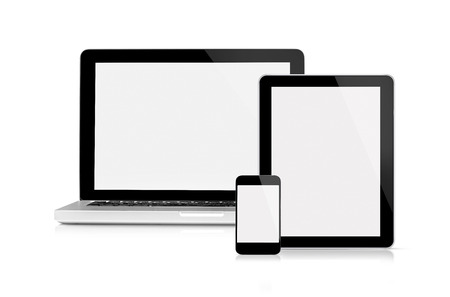 Foto de This is a front view of the digital device with blank screen, isolated on white. - Imagen libre de derechos