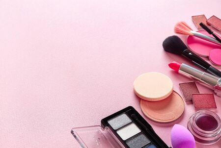 Organic Cosmetics For Makeup Banner On Light Pink Background Royalty Free Images Photos And Pictures