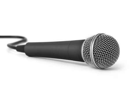 Photo pour Metal dark gray microphone isolated - image libre de droit