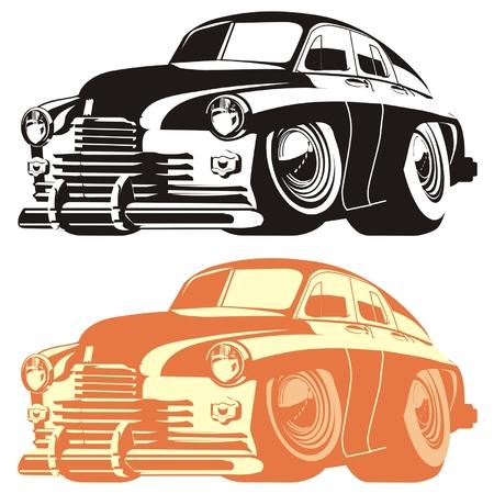 Ilustración de Vector silhouette cartoon retro car - Imagen libre de derechos