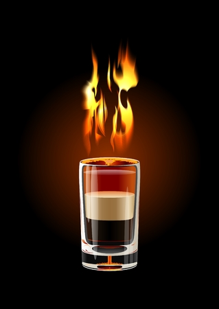 Vector B-52 Shot cocktail (flame with transparency)