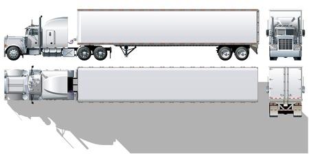 Illustration pour Vector hi-detailed commercial semi-truck - image libre de droit