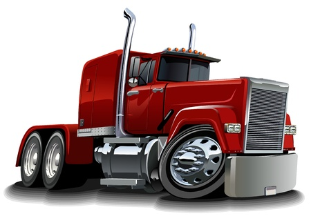 Illustration pour Vector cartoon semi truck - image libre de droit