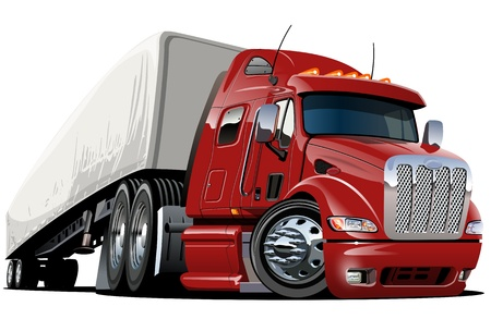 Illustration pour cartoon semi truck  one-click repaint - image libre de droit