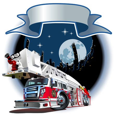 Cartoon Fire Truck  Available  separated by groups and layers for easy edit