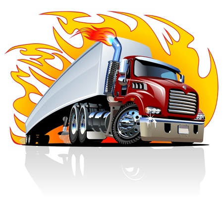 Illustration pour Cartoon Semi Truck. Available  separated by groups and layers with transparency effects for one-click repaint. - image libre de droit