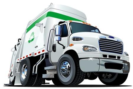Illustration pour Cartoon Garbage Truck  - image libre de droit