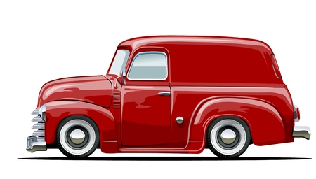 Vector cartoon delivery van. Available vector format separated by groups with transparency effects for one-click repaint