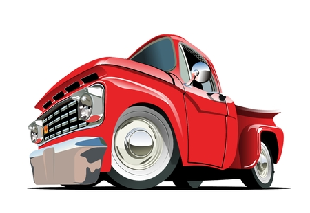 Illustration pour Cartoon retro pickup . Available EPS-10 vector format separated by groups with transparency effects for one-click repaint - image libre de droit
