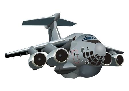 Ilustración de Vector Cartoon Military Cargo plane. Available vector format separated by groups and layers for easy edit - Imagen libre de derechos