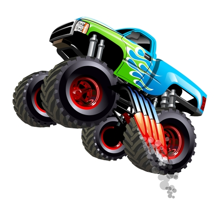 Ilustración de Cartoon Monster Truck. Available separated by groups and layers with transparency effects for one-click repaint - Imagen libre de derechos