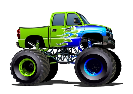 Illustration for Cartoon Monster Truck. Available EPS-10 separated by groups and layers with transparency effects for one-click repaint - Royalty Free Image