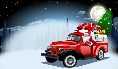 Illustration pour Vector Christmas Card separated by groups and layers for easy edit - image libre de droit