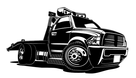 Ilustración de Cartoon tow truck isolated on white background. Available EPS-8 vector format separated by groups and layers for easy edit - Imagen libre de derechos