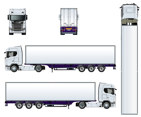 Ilustración de Vector truck template isolated on white. Available EPS-10 separated by groups and layers with transparency effects for one-click repaint - Imagen libre de derechos