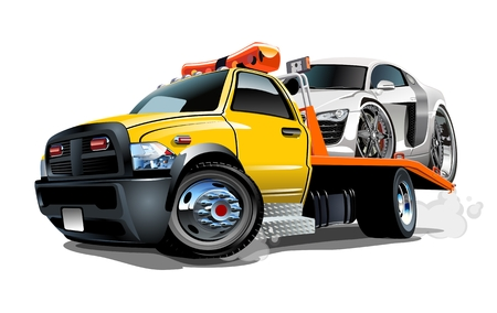 Ilustración de Cartoon tow truck isolated on white background. Available vector format separated by groups and layers for easy edit - Imagen libre de derechos