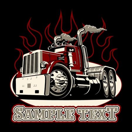 Ilustración de Cartoon retro semi truck isolated on black background. Available EPS-8 vector format separated by groups and layers for easy edit - Imagen libre de derechos