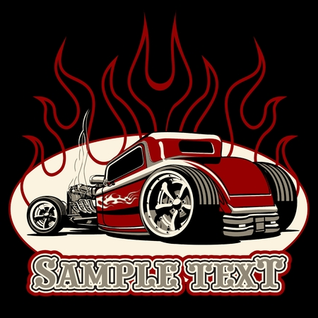 Illustration for Cartoon retro hot rod isolated on black background - Royalty Free Image