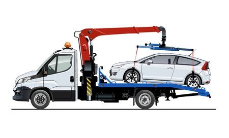 Illustration pour Vector tow truck template isolated on white. Available EPS-10 separated by groups and layers for easy edit - image libre de droit