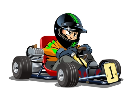 Ilustración de Vector Cartoon cart with kid racer isolated on white. Available EPS-10 separated by groups and layers for easy edit - Imagen libre de derechos