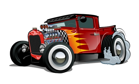 Illustration for Cartoon retro hot rod isolated on white background. Available EPS-10 vector format separated by groups and layers for easy edit - Royalty Free Image
