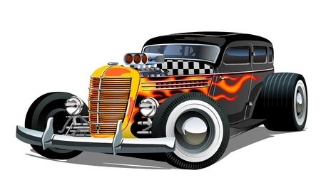 Ilustración de Cartoon retro hot rod isolated on white background. Available EPS-10 vector format separated by groups and layers for easy edit - Imagen libre de derechos