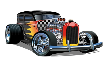 Ilustración de Cartoon retro hot rod isolated on white background. - Imagen libre de derechos