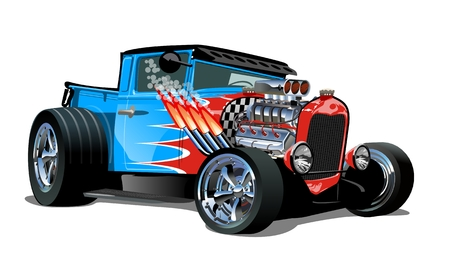 Illustration for Cartoon retro hot rod isolated on white background. - Royalty Free Image