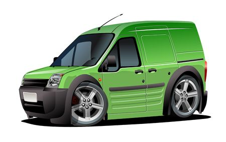 Illustration for Cartoon delivery van isolated on white background. - Royalty Free Image