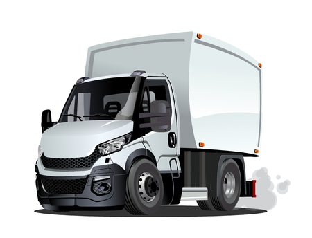 Illustration pour Cartoon delivery cargo truck isolated on white background. Available EPS-10 vector format separated by groups and layers - image libre de droit