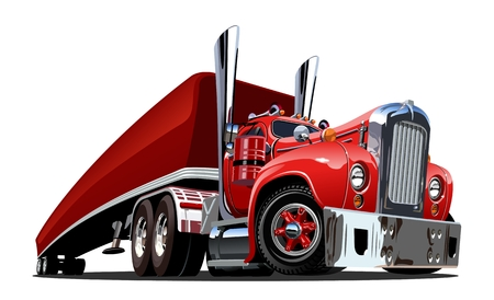 Illustration for Cartoon retro semi truck isolated on white background. Available EPS-10 vector format separated by groups and layers for easy edit - Royalty Free Image