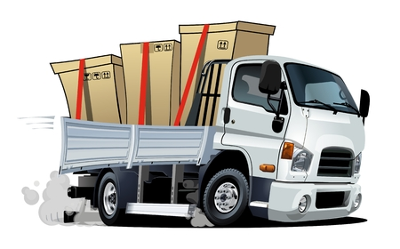 Illustration pour Cartoon delivery cargo truck isolated on white background. Available EPS-10 vector format separated by groups and layers with transparency effects for one-click recolour - image libre de droit