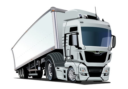 Illustration pour Cartoon cargo semi truck. Available EPS-10 vector format separated by groups and layers with transparency effects for one-click recolour - image libre de droit