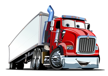 Ilustración de Cartoon cargo semi truck isolated on white background. Available EPS-10 format separated by groups and layers for easy edit - Imagen libre de derechos