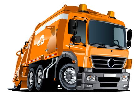 Illustration pour Cartoon Garbage Truck isolated on white background - image libre de droit