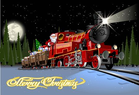 Illustration pour Vector Christmas greeting card with cartoon Santa Express train - image libre de droit