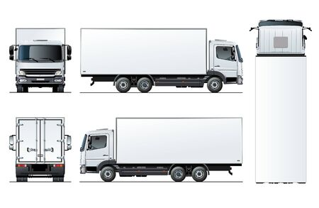 Illustration pour Vector truck template isolated on white for car branding and advertising. Available EPS-10 separated by groups and layers with transparency effects for one-click repaint. - image libre de droit
