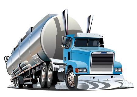 Illustration pour Cartoon semi tanker truck isolated on white background - image libre de droit