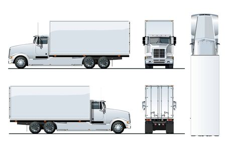 Illustration pour Vector truck template isolated on white for car branding and advertising. Available EPS-10 separated by groups and layers. - image libre de droit
